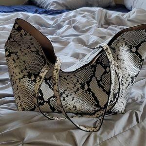 Vegan leather snake print tote